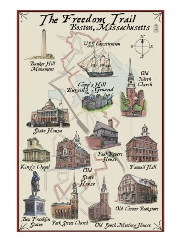 The Freedom Trail - Boston, MA;  I'm torn because I'd love to see these Historical sites, but I have to fight my gag reflex at the prospect of visiting the political aberration that is Boston.