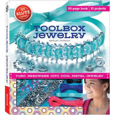 Tool Box Jewelry $21.99 http://catalog.karens4toys.com/tool-jewelry-p-42456.html#.VId6QzHF9j4 Create unique industrial jewelry with this kit that teaches kids how to use hardware to make jewelry. The 60 page idea book will inspire creations using the over 180 nuts, washers and fasteners, three colors of cord, earring wires,beads, and two colors of ribbon. Convenient storage trays and slide-out work surface. Ages 8+. #toys #ToyStore #kids #fun #Toys4Kids #Fun4Kids