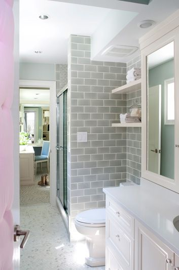 Suzie: Kristin Peake Interiors - Girl's bathroom with blue paint color, white carrara marble ...
