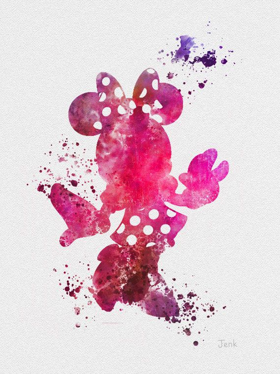 "Minnie Mouse ART PRINT 10 x 8"" illustration, Disney, Mixed Media, Home Decor, Nursery, Kid"