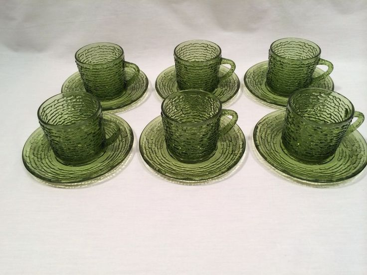 Vintage Green Cups and Saucers Soreno Avocado Glass Set of 6