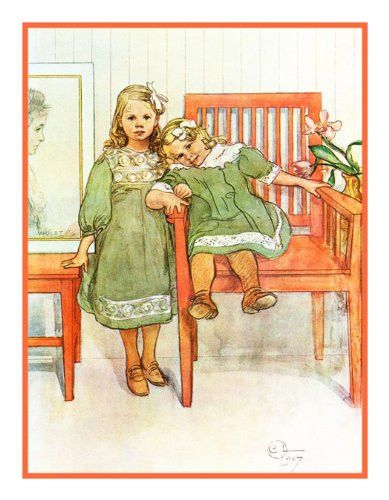 Mini and Essi by Swedish Artist Carl Larsson Counted Cross Stitch or Counted Needlepoint Pattern