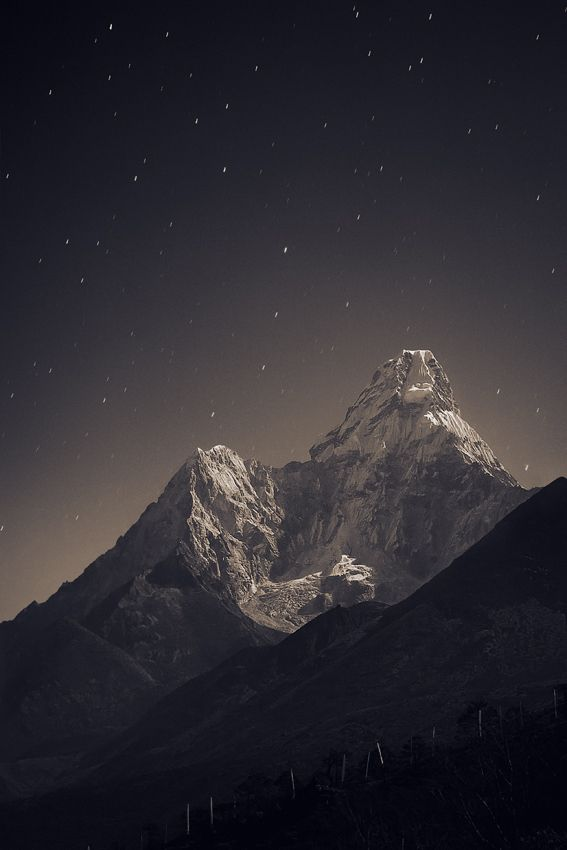 Ama Dablam (6,856 m) in the fullmoon light  by Anton Jankovoy