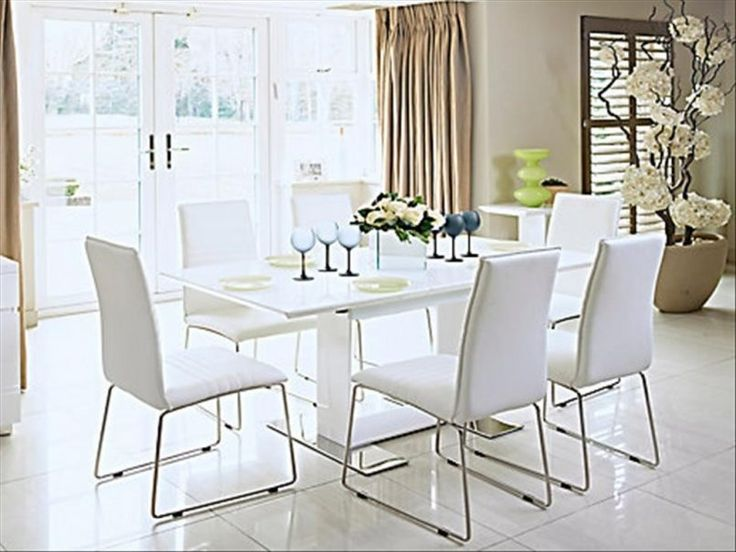 Dining Room White Modern Dining Set With Green Vase Rose Also Flower Pot  And Blue Glass Part 91