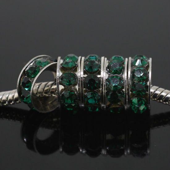 ( 50 pcs/lot ) изумруд австрийский кристалл Rondelle спейсерной большой разрез европейский бусины Fit подвески браслет