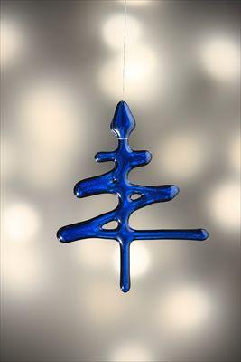 Zig-Zag tree,fused glass Christmas decoration by Jo Newman.