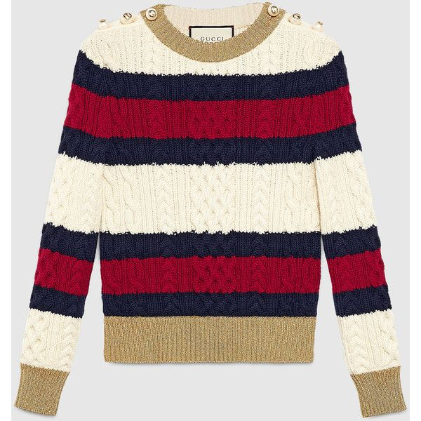 Gucci Striped Wool Knit Top (55.780 RUB) ❤ liked on Polyvore featuring tops, ready to wear, women, wet look top, embellished tops, gucci, knit tops and gucci tops
