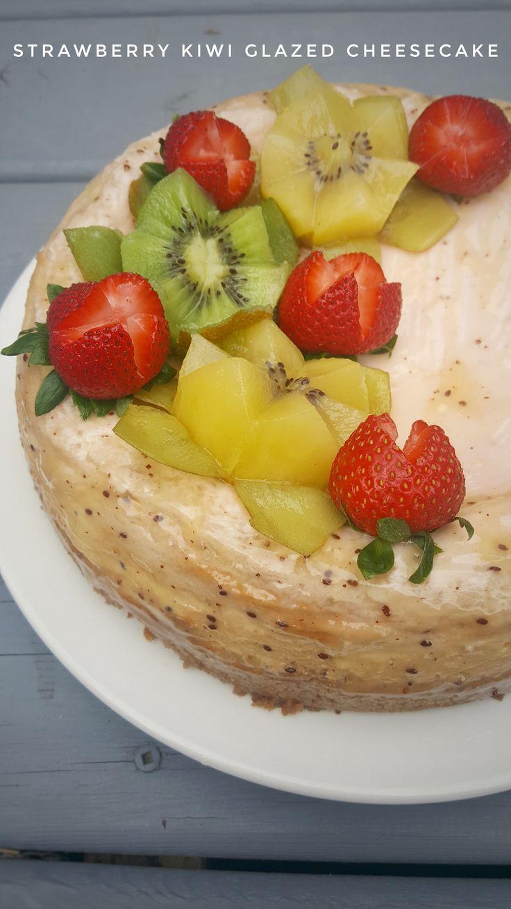Strawberry Kiwi Glazed Cheesecake