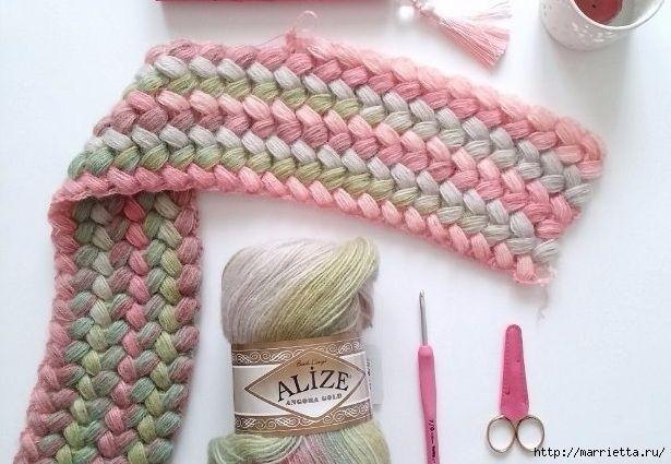 Красивый узор елочкой пышными столбиками вяжется крючком. Можно применить для вязания шарфика или шапочки. Схема вязания и фото мастер-класс прилагается.