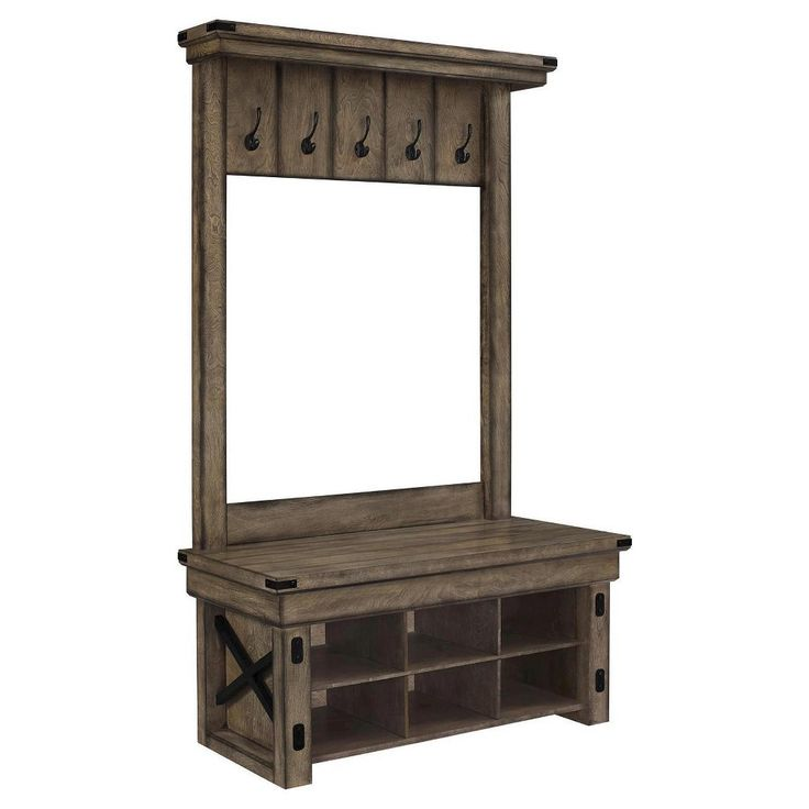 Wildwood Rustic Entryway Hall Tree with Storage Bench - Gray Wash - Altra, Brown
