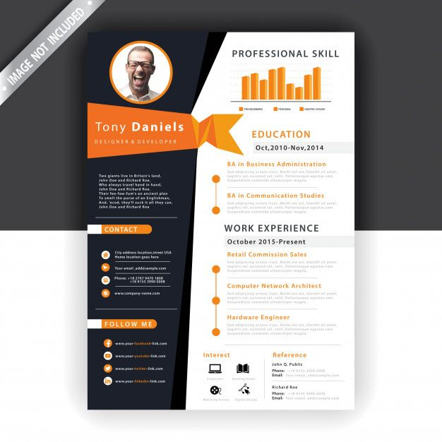 Download Abstract Orange Resume Template For Free Resume Template Professional Brochure Design Brochure Design Template
