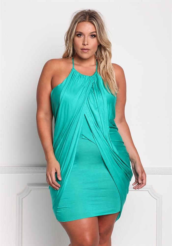$29.95---GREEN | Plus Size Draped Layered Hi-Lo Dress | Debshops