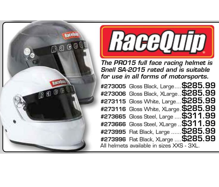 Add a New RaceQuip PRO15 SA2015 Full Face Helmet to your collection. Prices starting at $290.99 EA.  • Exceeds Snell SA2015 Rating - Sticker Inside  • Fiber Reinforced Polymer (FRP) Shell  • Comfort Fit Blended Nomex® Interior  • Distortion Free 3mm Polycarbonate Shield  • Kevlar® Chin Strap  • Available in Gloss Black, Gloss White, Gloss Steel, Flat Black, and Hot Pink  https://aadiscountauto.ca/special/427/racequip--pro15-sa2015-full-face-helmet.html  #AAPerformance #AADiscountAuto…