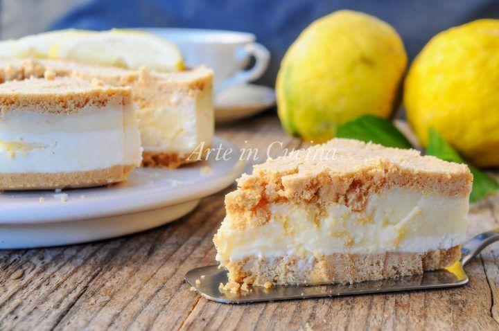 Torta di biscotti al limone e ricotta, ricetta dolce facile e veloce, torta fredda senza forno, crema pasticcera al limone vellutata, dolce al limone dopo pranzo