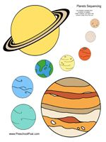 Preschool Planets Coloring and Sequencing and Mobile