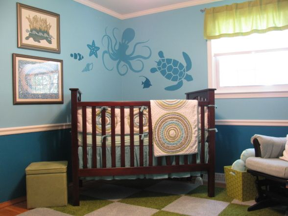 Under the Sea Nursery from DIY Network - Rate My Space. This room features hand pained sea animals and many calming sea tones.
