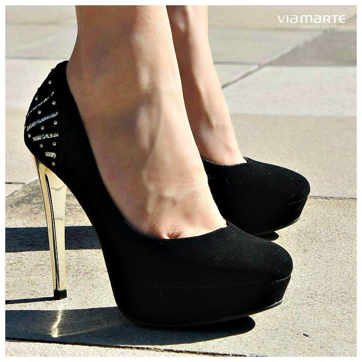 sapato de salto alto - salto dourado - high heels - black and gold - winter shoes - Inverno 2015 - Ref. 15-5502