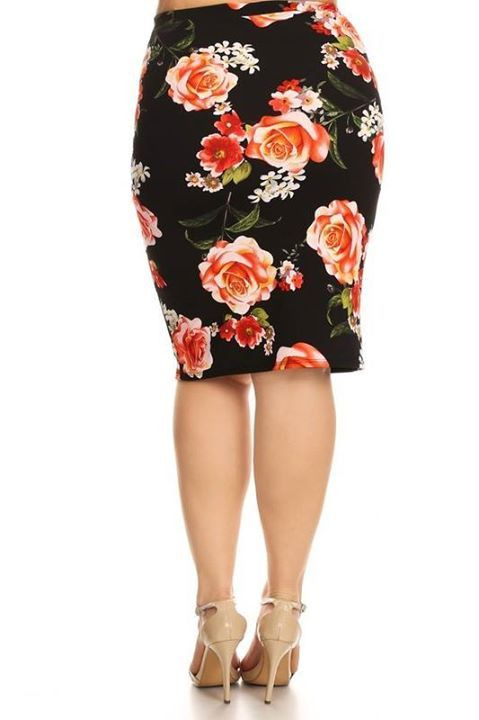 Black, Red, and Coral Pencil Skirt, Plus Size