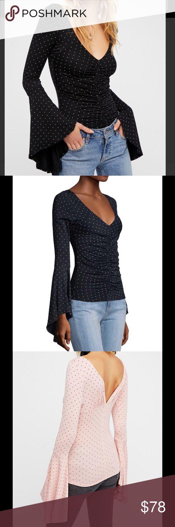 Free People Bell Sleeved Polka Dot Top Black New! Free People Tops Tees - Long Sleeve