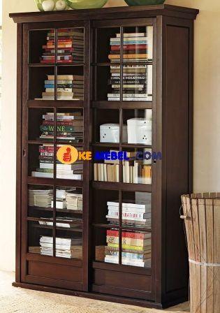 lemari buku minimalis pintu sliding