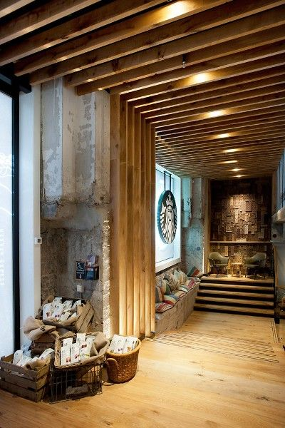 I work for Starbucks and I wished my Starbucks location looked like this. This look brings so much warmth and relaxation because of its use of natural elements like wood.
