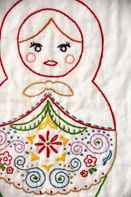 matryoshka embroidery by Fifi & Florence, via Flickr