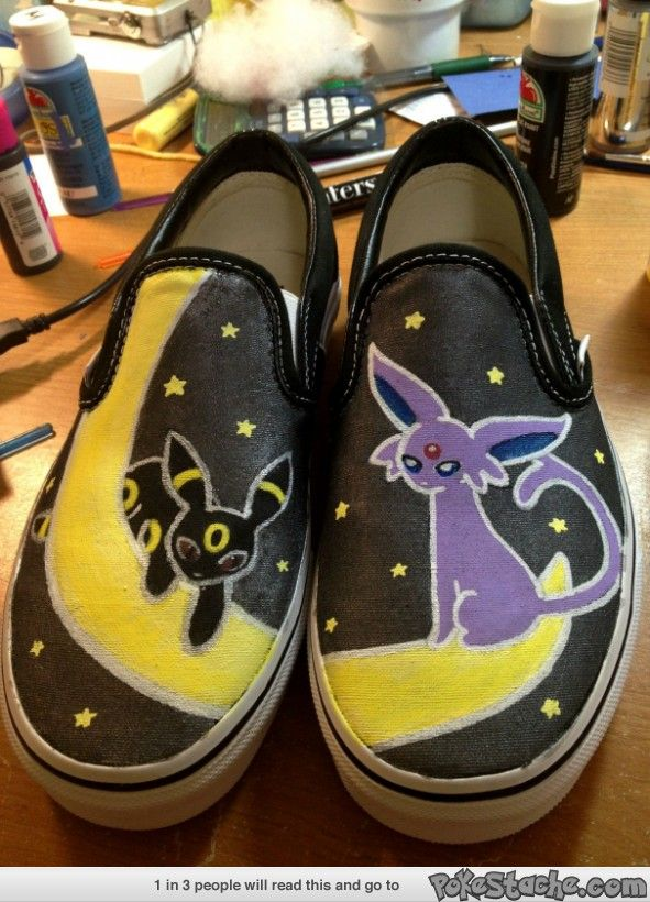 Hand painted a pair of Vans featuring Umbreon and Espeon!