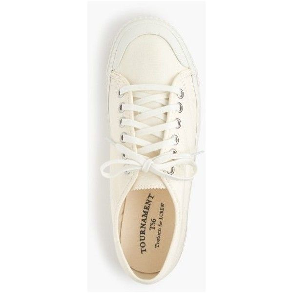 J.Crew Women's Tretorn Canvas T56 Sneakers ($90) ❤ liked on Polyvore featuring shoes, sneakers, vintage tennis shoes, white canvas sneakers, canvas sneakers, tennis trainer and white trainers