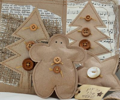 brown paper bags & buttons ...( I would glue a string to make it these a darling ornament)....<3 ...<3