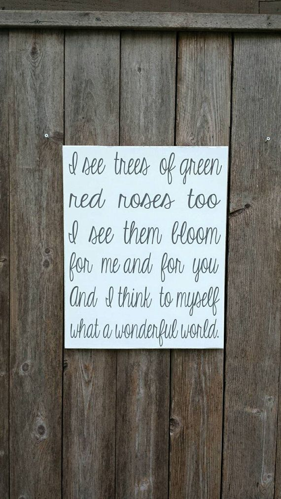 I think to myself what a wonderful world sign, What a wonderful world Sign, Wonderful World, Wedding Song, Wedding Gifts, Wedding Sign, Love