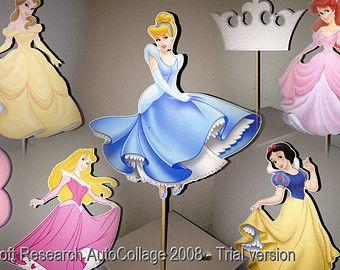 Personalized Princess Centerpiece Picks от CraftySistersPlus1
