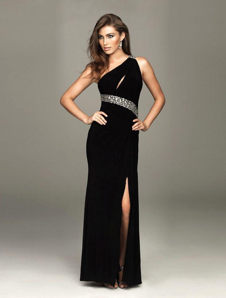 One Shoulder Beading Black Evening Dress with Hole