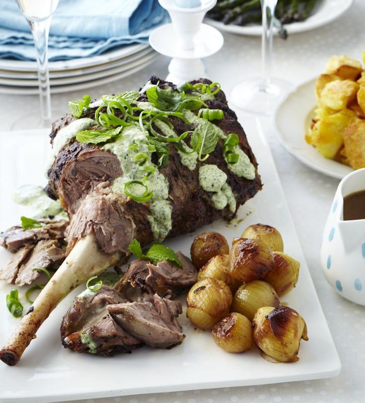 Roast lamb with fresh mint topping