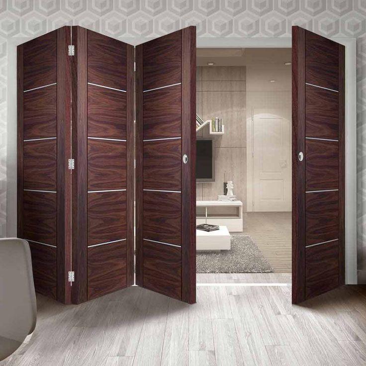 Thrufold Portici Walnut Flush 3+1 Folding Door - Aluminium Inlay - Prefinished - Lifestyle Image - #bedroom #modern #doors
