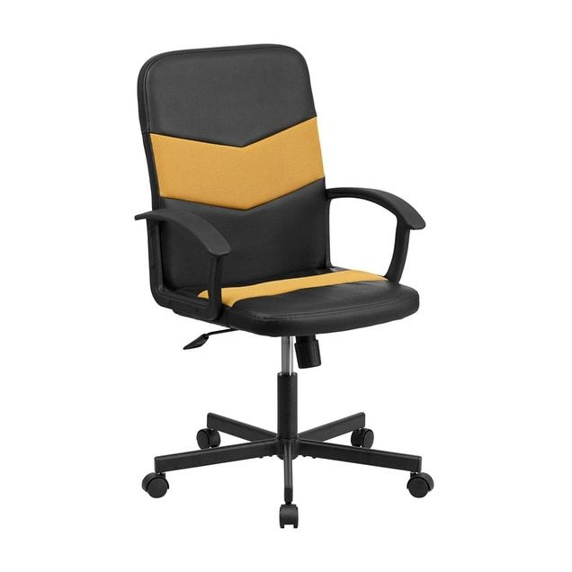 Offex Mid Back Black Vinyl And Orange Mesh Racing Executive Swivel Office Chair Of