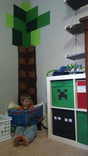 Minecraft felt tree and ikea bins to make reading corner