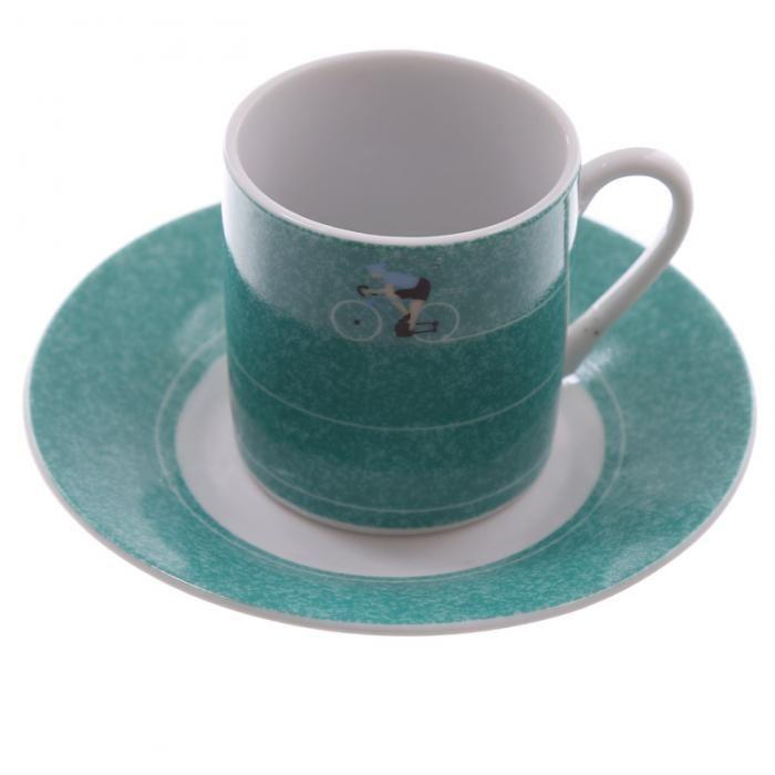 Hrnek na espresso s podšálkem Cyklista, design Ted Smith #hrnek #dekorace #doplnky #kolo #bicycle #accessories #giftware #mug #giftideas