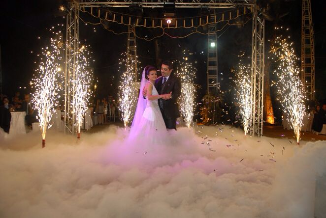 Wedding firework effects dry ice awesome!!
