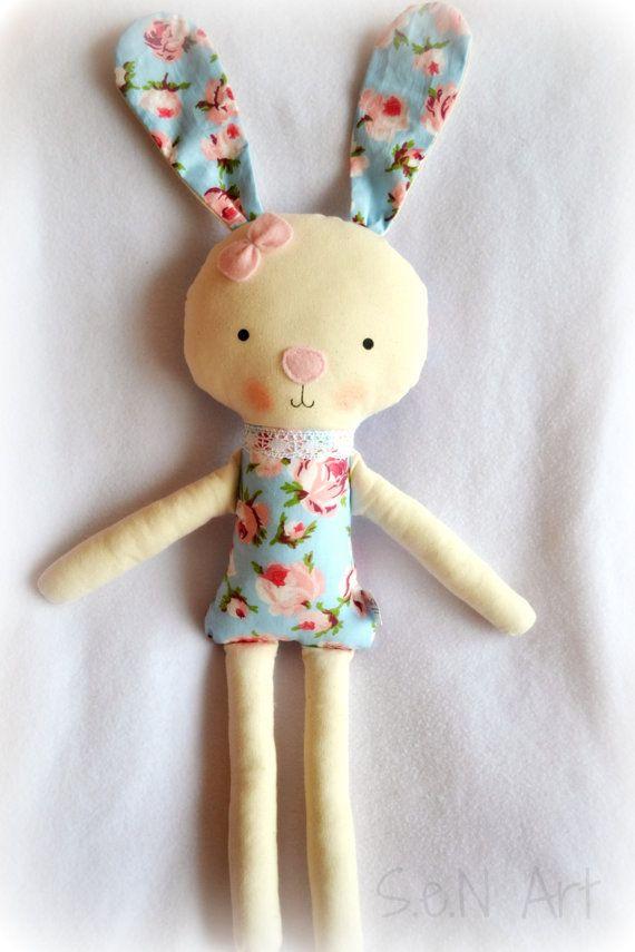 Soft Doll Bunny Handmade Ballerina Doll Bunny Fabric by SenArt1