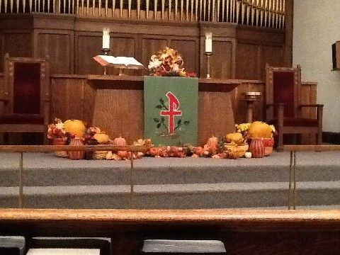 Thanksgiving church decorations | Our Sanctuary Christmas decorations 12/2012