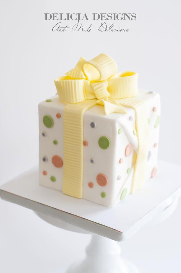 Simple Present Cake by Delicia Designs