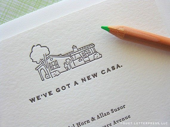 "Love this. Might have husband draw illustration of our new house and use for ""we've moved"" announcements and a return address stamp."