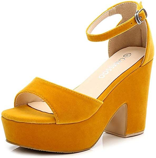 2a4799e6f4817 Amazon.com   CAMSSOO Women's Solid Color Peep Toe Ankle Strap High ...