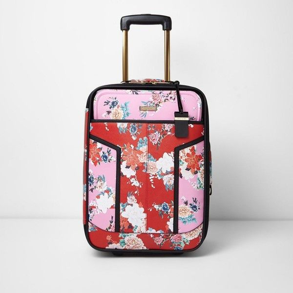 River Island Pink and red floral print cabin suitcase (450 PLN) via Polyvore featuring bags, luggage, bags / purses, pink, suitcases i women