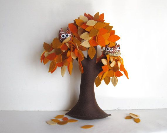 Orange Weeping willow with a family of owls  Felt Tree by Intres, $55.00: Felt Crafts, Orange Weeping, Felt Tree, Weeping Willow, Orange Tree3, Owl Felt, Owls Felt, Owl Tree