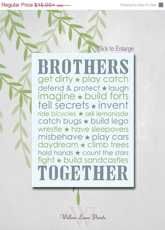 Twin Boys Nursery art, Brothers Subway decor, Boys bedroom decor, brothers wall art, children's prints on Etsy, $13.50