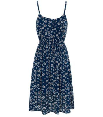 Teens Blue Daisy Print Strappy Midi Dress