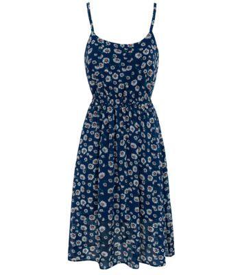 Teens Blue Daisy Print Strappy Midi Dress