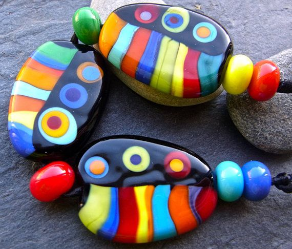 Circus Parade  Handmade Lampwork Bead Set 9 by by AnnesGlassJewels