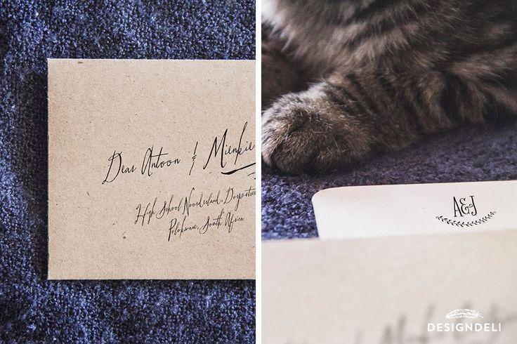 Calligraphy by hand – Invitation Stationery | Navy Lavender Kraft Invitation Stationery Design